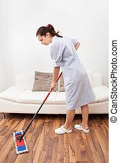 hembiträde, rensning, ung, golv