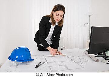hembra, arquitecto, trabajo encendido, cianotipo