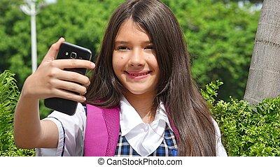 hembra, bastante, selfy, estudiante