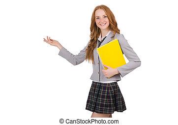 hembra, blanco, joven, estudiante, aislado