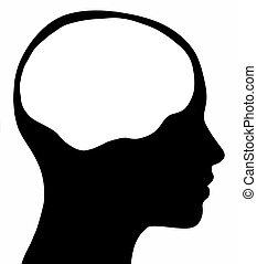 hembra, cabeza, silueta, con, cerebro, área