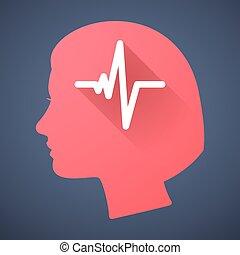 hembra, cabeza, silueta, icono, con, un, latido de corazón, señal