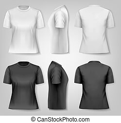 hembra, camisetas, con, muestra, texto, space., vector.