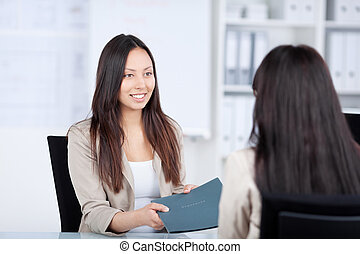 hembra, candidato, dar, mujer de negocios, archivo,...