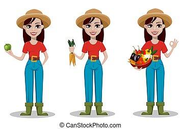 hembra, caricatura, granjero, carácter