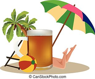 hembra, cerveza, pelotas, sol, deckchair, parasol