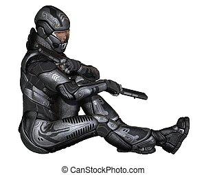hembra, ciencia ficción, soldado, sentarse