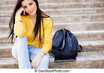hembra, colegio, joven, estudiante, aire libre