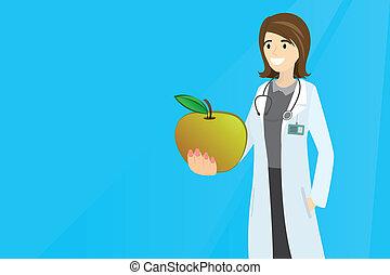 hembra, comida, tenencia, manzana, doctor