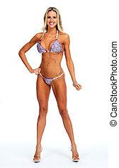 hembra, condición física, modelo, en, bikini.