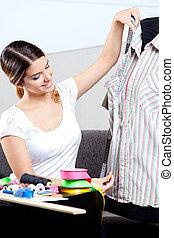 hembra, diseñador de modas, toma, medida