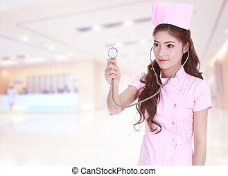 hembra, enfermera, con, estetoscopio, en, hospital