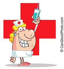 hembra, enfermera, sostener una jeringuilla