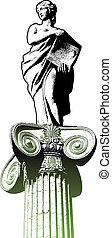 hembra, estatua, y, clásico, columna