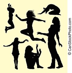 hembra, gesto, acción, silueta