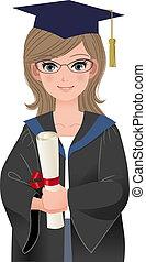 hembra, graduado, en, académico, vestido