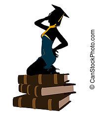 hembra, graduado, ilustración, silueta