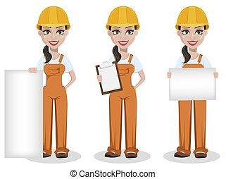 hembra, hermoso, uniforme, constructor