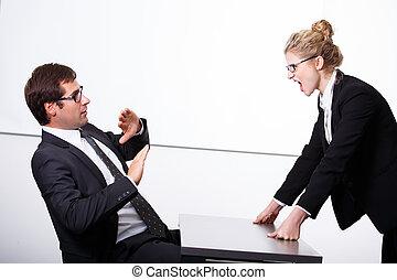 hembra, jefe, enojado, para, empleado