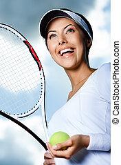 hembra, jugador del tenis, contra, el, cielo