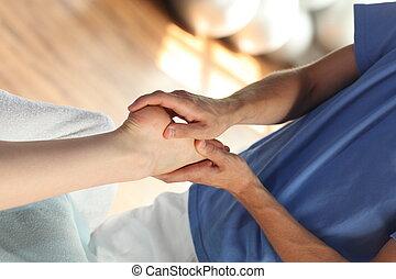 hembra, masaje del pie, -, cicatrizarse