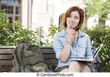 hembra, mochila, joven, banco, estudiante, campus