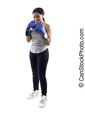 hembra, nervioso, mirar, boxeador, plano de fondo, blanco