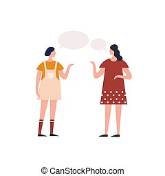hembra, plano, vector, conversación, juntos, chisme, mujer ...