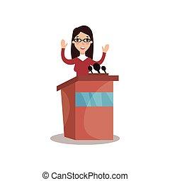 hembra, político, carácter, el estar parado detrás, tribuna, con, levantar, manos, y, dar, un, discurso, orador público, político, debates, vector, ilustración