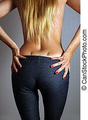 hembra, prominente, butt, hoyuelos, (2), hermoso, riñón