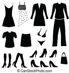 hembra, ropa, y, accesorios