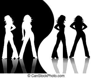 hembra, siluetas, negro, blanco