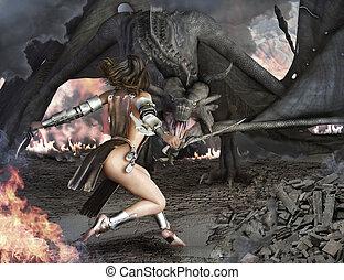 hembra, slayer, guerrero, dragón, sexy