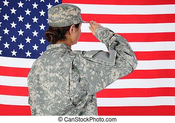 hembra, soldado, saludar, bandera