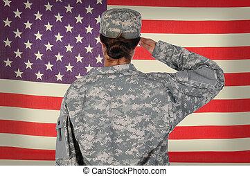 hembra, soldado, saludar, grunge, bandera