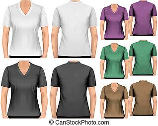 hembra, t-shirts., diseño, template., vector.