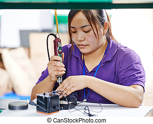 hembra, trabajador, fábrica, chino