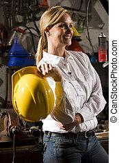hembra, trabajador, posición, en, oficina, mantenimiento, habitación