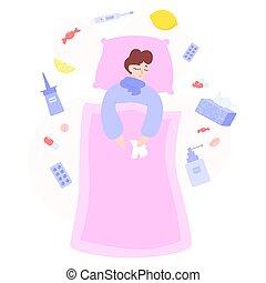 hembra, tratamiento, concept., caracter, atención sanitaria...