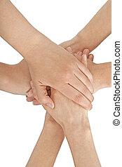 hembra, unido juntos, manos