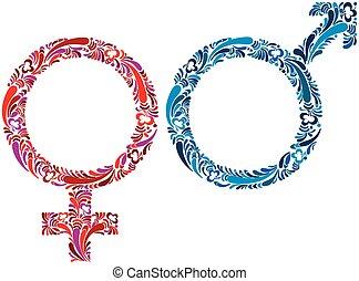 hembra, y, macho, symbols.