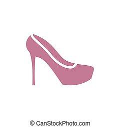 6c3480a0 Moda, signo., bota, símbolo., mujer, zapato, hembra, icon., rojo ...