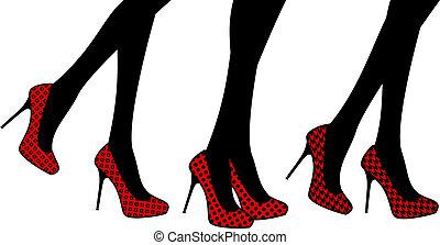 hembra, zapato, moda