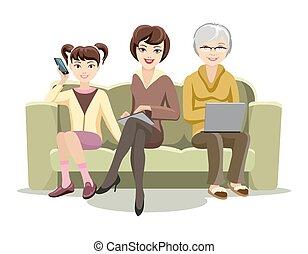 hembras, adminículos, sofá, sentado