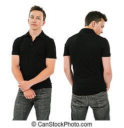hemd, black , polo, leeg, man, jonge