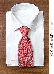 hemd, houten, plank, vastknopen, wit rood