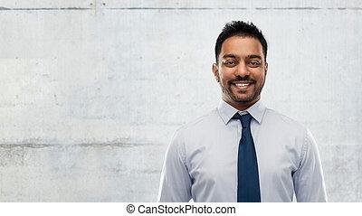 hemd, op, beton, indiër, zakenman, vastknopen