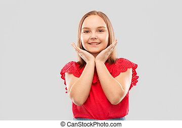 hemd, op, grijze , het poseren, het glimlachen meisje, rood