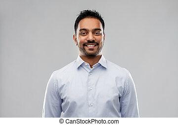 hemd, op, grijze , indiër, achtergrond, zakenman