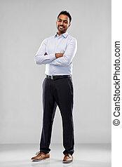 hemd, op, grijze , indiër, zakenman, vrolijke